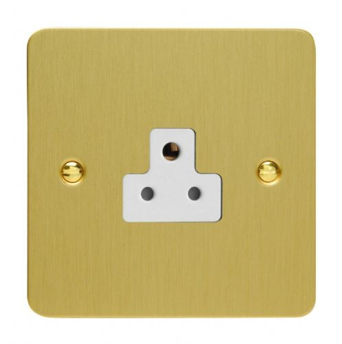 Varilight XFBRP2AW Ultraflat Brushed Brass 1 Gang 2A Round Pin Plug Socket